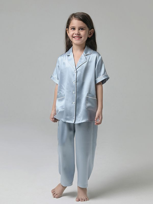 19 Momme Kids Short-sleeve Silk Pajama Set For Boys and Girls